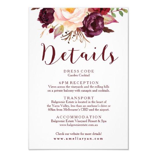 Floral Burgundy Wedding Details Card