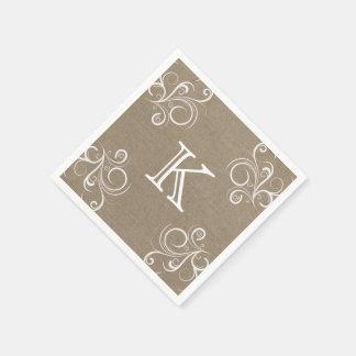 Floral Burlap Monogram Napkins Disposable Serviettes