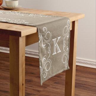 Floral Burlap Monogram Table Runner