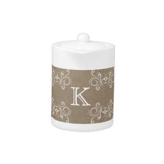 Floral Burlap Monogram Teapot
