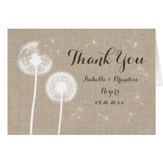 Floral Burlap Thank You Card