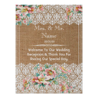 floral burlap wedding welcome poster
