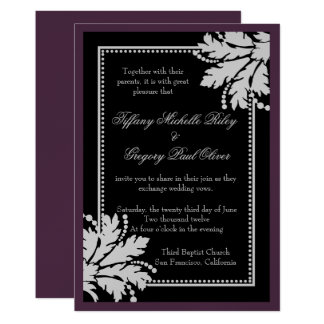 Floral Burst Wedding Invite Metallic [Eggplant]