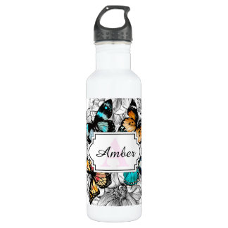 Floral Butterflies colorful sketch pattern 710 Ml Water Bottle