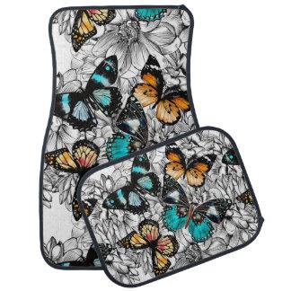 Floral Butterflies colorful sketch pattern Car Mat