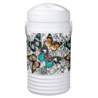 Floral Butterflies colorful sketch pattern Cooler