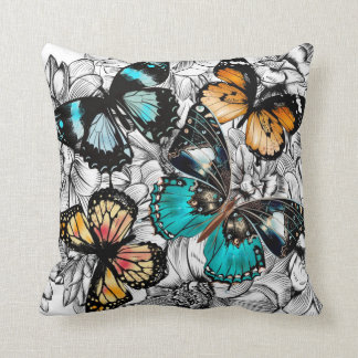 Floral Butterflies colorful sketch pattern Cushion