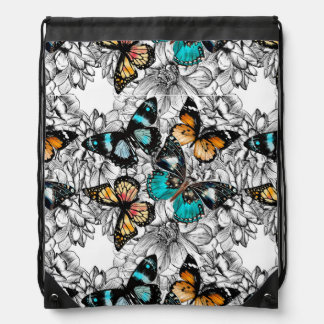 Floral Butterflies colorful sketch pattern Drawstring Bag