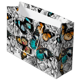 Floral Butterflies colorful sketch pattern Large Gift Bag