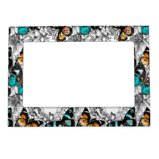 Floral Butterflies colorful sketch pattern Magnetic Frame