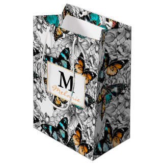 Floral Butterflies colorful sketch pattern Medium Gift Bag