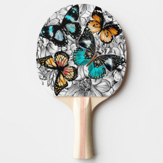 Floral Butterflies colorful sketch pattern Ping Pong Paddle
