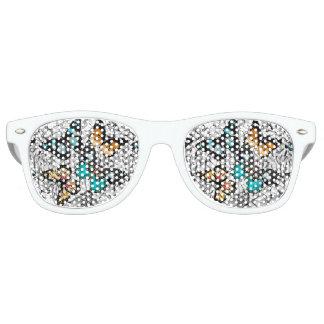 Floral Butterflies colorful sketch pattern Retro Sunglasses