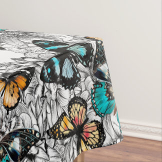 Floral Butterflies colorful sketch pattern Tablecloth