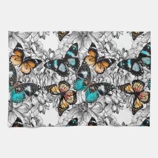 Floral Butterflies colorful sketch pattern Tea Towel