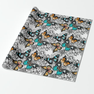 Floral Butterflies colorful sketch pattern Wrapping Paper