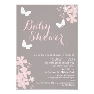 Floral Butterflies Girls Baby Shower Invitation