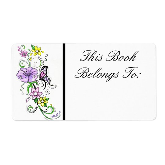 Floral Butterfly Book Label Shipping Label