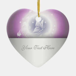 Floral Butterfly Fantasy Purple Ceramic Heart Decoration