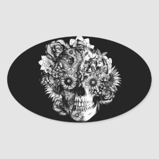 Floral Butterfly Ohm skull illustration in black Oval Sticker
