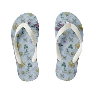 floral butterfly pattern kid's flip flops thongs