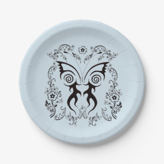 FLORAL BUTTERFLY TATTOO PATTERN PARTY PLATE
