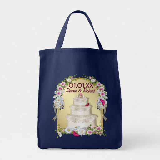 wedding cake bag floral cake wedding grocery tote bag zazzle 21775