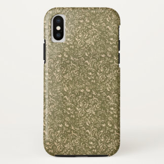 Floral Calico Cowboy Western USA Print Kale Green iPhone X Case