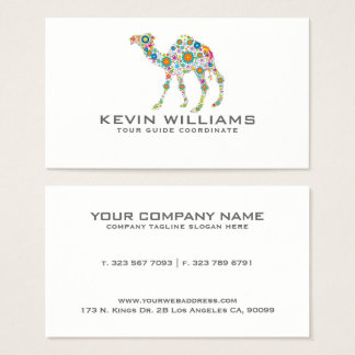 Floral Camel Illustration Tour Guide Business Card