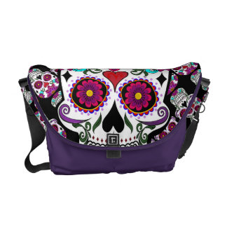 Floral candy skull messenger bags