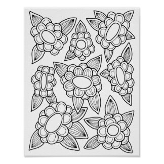 Floral Cardstock Adult Coloring Page Poster