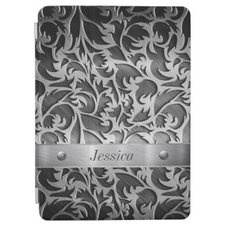 Floral Carving on Brushed Metal iPad Air Cover