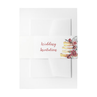 Floral Cascade Cake Belly Band Invitation Belly Band