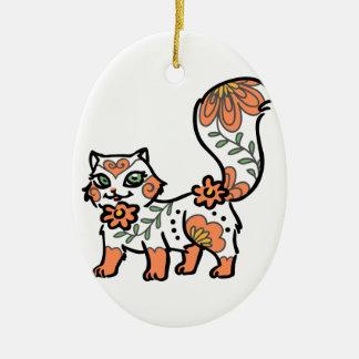 Floral Cat Ceramic Oval Decoration