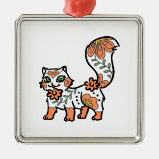Floral Cat Silver-Colored Square Decoration