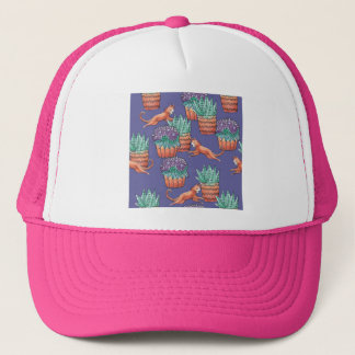 floral cats trucker hat