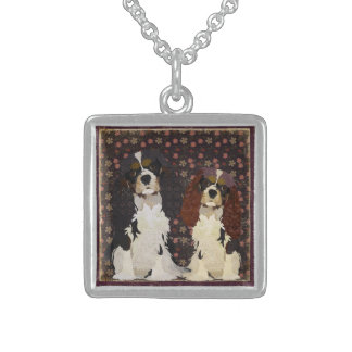 Floral Cavalier King Charles Dogs  Necklace