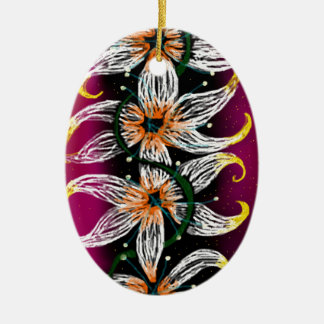 Floral chain ceramic oval decoration