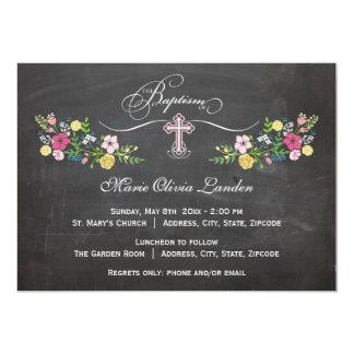 Floral Chalkboard  |  Girl Baptism Invitation