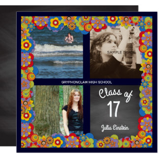 Floral Chalkboard Girl Photo Graduation Party Card