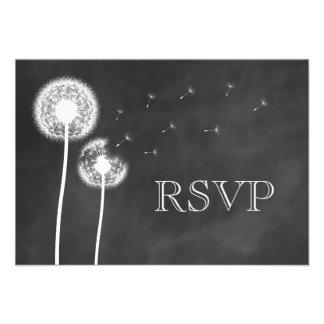 Floral Chalkboard RSVP Custom Announcements