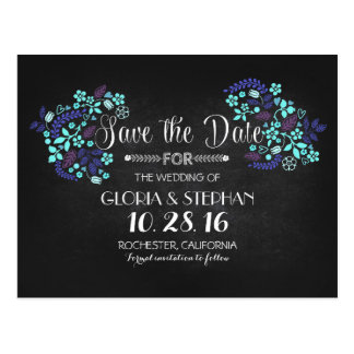 Floral chalkboard save the date postcards