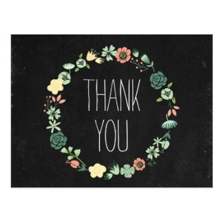 Floral Chalkboard Thank You Postcard