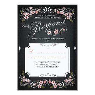 Floral Chalkboard Vintage Bold Wedding RSVP 9 Cm X 13 Cm Invitation Card