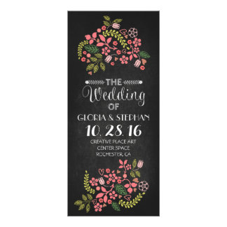 floral chalkboard wedding program cards rack card template
