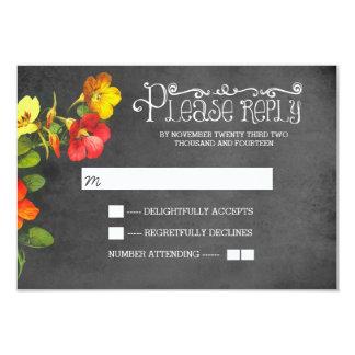 floral chalkboard wedding RSVP card 9 Cm X 13 Cm Invitation Card