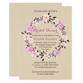 Floral Cherry Blossom and Clover Bridal Shower Card