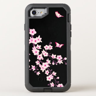 Floral Cherry Blossom Pink Black OtterBox Defender iPhone 8/7 Case