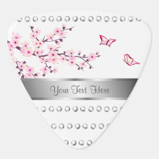 Floral Cherry Blossom Silver Stripes White Pink Plectrum