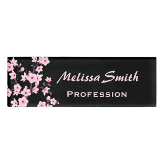 Floral Cherry Blossoms Black Pink Name Tag